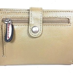 Travelon Small Beige Leather Wallet-Missing Strap